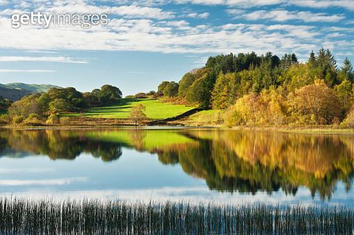 Still morning and reflections  in autumn at Llyn Tecwyn Isaf, Snowdonia, Wales - gettyimageskorea