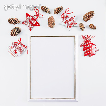 White mockup empty frame with Christmas decoration background - gettyimageskorea