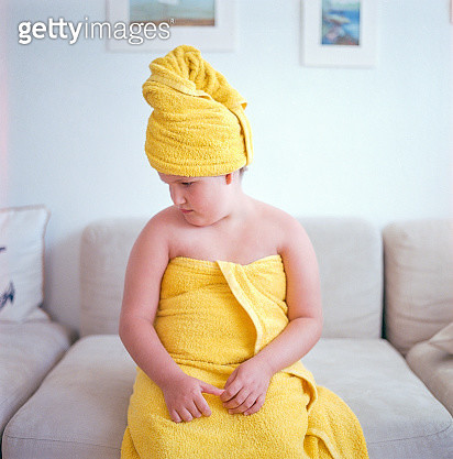 Girl's portrait after bath - gettyimageskorea
