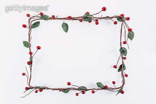 Christmas rectangular frame decoration on white background - gettyimageskorea