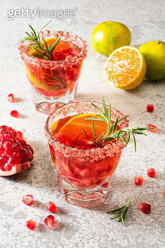 Pomegranate drink with tangerine and rosemary - gettyimageskorea