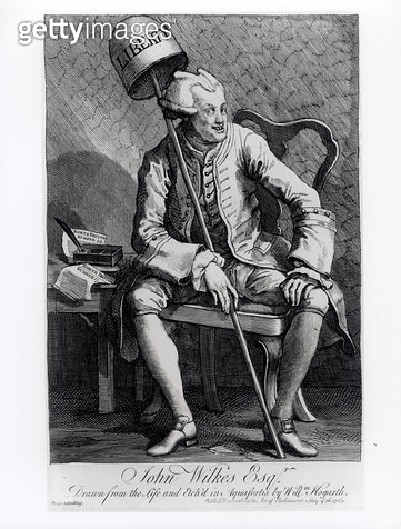<b>Title</b> : John Wilkes (1727-97) 1763 (etching) (b/w photo)<br><b>Medium</b> : etching<br><b>Location</b> : Private Collection<br> - gettyimageskorea