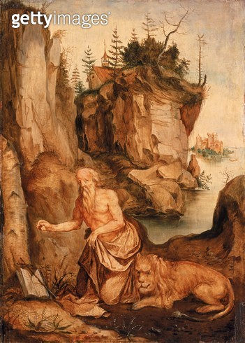 <b>Title</b> : St Jerome and the Lion, c.1500 (oil on panel)<br><b>Medium</b> : <br><b>Location</b> : The Barnes Foundation, Merion, Pennsylvania, USA<br> - gettyimageskorea