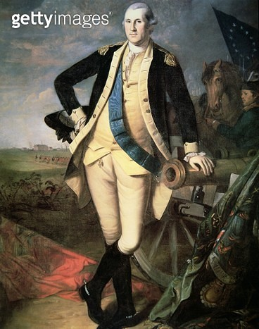 General George Washington (1732-99) at Yorktown, Virginia (colour litho) Private Collection - gettyimageskorea
