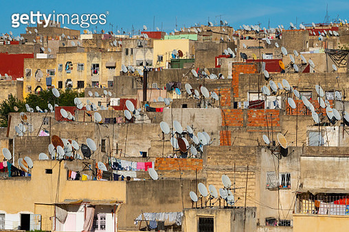 A sea of satellite dishes crowns the Old City (Medina) of Fez, UNESCO World Heritage Site, Morocco - gettyimageskorea