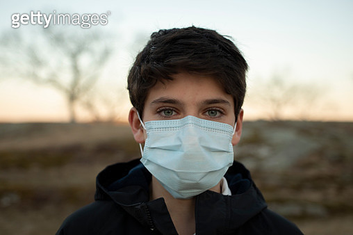 Boy with Surgical Mask - gettyimageskorea