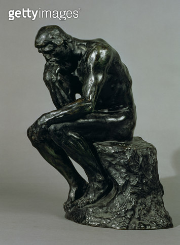 <b>Title</b> : The Thinker (Le Penseur) (bronze)<br><b>Medium</b> : bronze<br><b>Location</b> : Private Collection<br> - gettyimageskorea