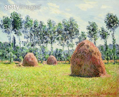 <b>Title</b> : Haystacks at Giverny, 1884 (oil on canvas)<br><b>Medium</b> : oil on canvas<br><b>Location</b> : Private Collection, Japan<br> - gettyimageskorea