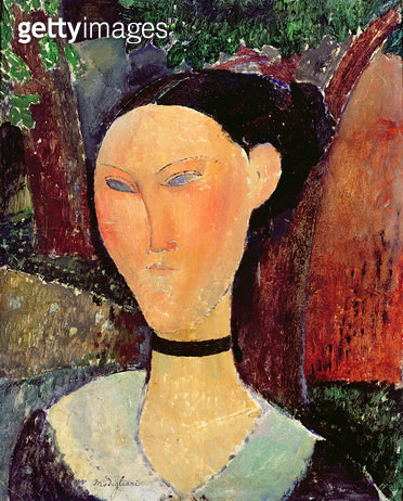 <b>Title</b> : Woman with a Velvet Neckband, c.1915 (oil on canvas)Additional InfoFemme au Ruban de Velours;<br><b>Medium</b> : oil on canvas<br><b>Location</b> : Musee de l'Orangerie, Paris, France<br> - gettyimageskorea