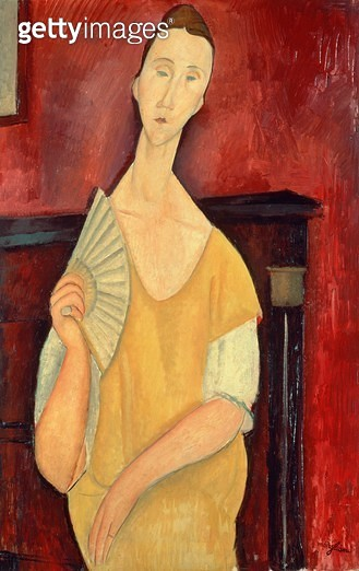 <b>Title</b> : Woman with a Fan (Lunia Czechowska) 1919 (oil on canvas)<br><b>Medium</b> : oil on canvas<br><b>Location</b> : Musee National d'Art Moderne, Centre Pompidou, Paris, France<br> - gettyimageskorea