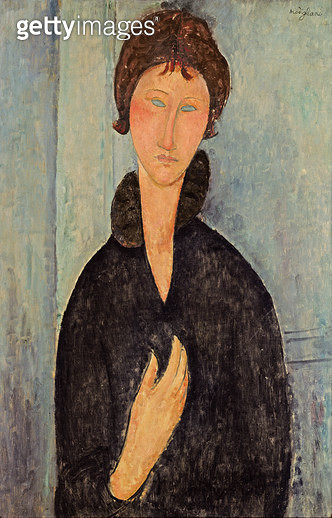 <b>Title</b> : Woman with Blue Eyes, c.1918 (oil on canvas)<br><b>Medium</b> : oil on canvas<br><b>Location</b> : Musee d'Art Moderne de la Ville de Paris, Paris, France<br> - gettyimageskorea