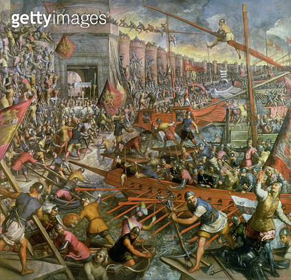 <b>Title</b> : The Capture of Constantinople in 1204 (oil on canvas)<br><b>Medium</b> : <br><b>Location</b> : Palazzo Ducale, Venice, Italy<br> - gettyimageskorea