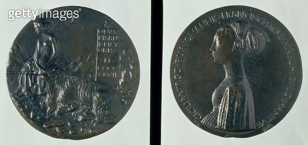 <b>Title</b> : Portrait medal, obverse depicting Cecilia Gonzaga, reverse depicting a female figure and unicorn, 1447 (bronze)<br><b>Medium</b> : <br><b>Location</b> : Ca' d'Oro, Venice, Italy<br> - gettyimageskorea