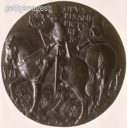 <b>Title</b> : Portrait medal, reverse depicting Gianfrancesco Gonzaga (1394/5-1444) on a horse, 1446-8 (bronze) (for obverse see 96843)<br><b>Medium</b> : <br><b>Location</b> : Ca' d'Oro, Venice, Italy<br> - gettyimageskorea
