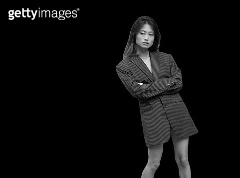 Portrait of a young women on black background background - gettyimageskorea