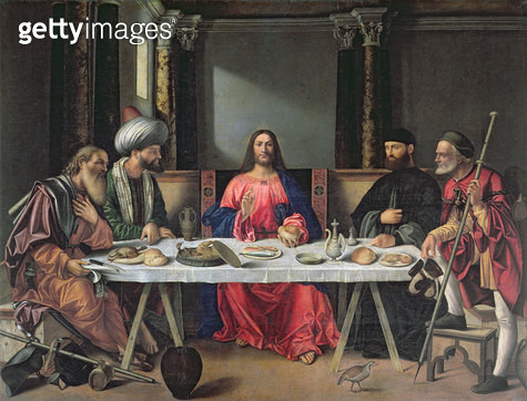 <b>Title</b> : The Supper at Emmaus (oil on panel)<br><b>Medium</b> : oil on panel<br><b>Location</b> : S. Salvador, Venice, Italy<br> - gettyimageskorea