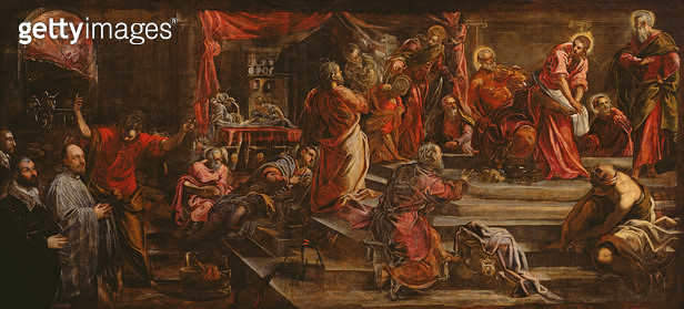 The Washing of the Feet (oil on canvas) - gettyimageskorea