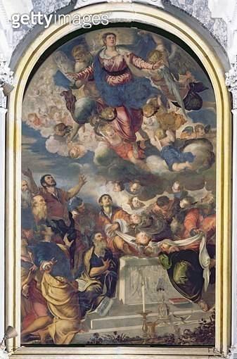 <b>Title</b> : The Assumption of the Virgin, 1555 (oil on canvas)<br><b>Medium</b> : oil on canvas<br><b>Location</b> : Gesuiti, Venice, Italy<br> - gettyimageskorea