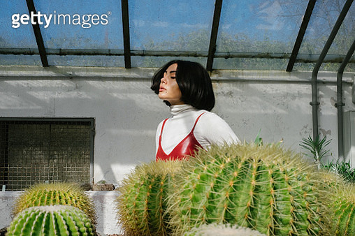 Young Woman Standing By Cactus In Greenhouse - gettyimageskorea