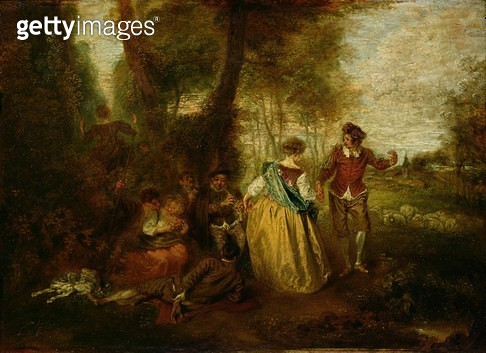<b>Title</b> : Pastoral Pleasures (oil on panel)<br><b>Medium</b> : oil on panel<br><b>Location</b> : Musee Conde, Chantilly, France<br> - gettyimageskorea