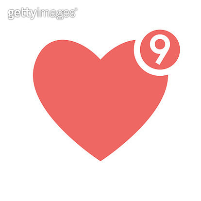 Social media heart shape with counter - gettyimageskorea