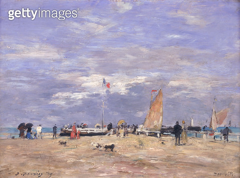<b>Title</b> : The Jetty at Deauville, 1869 (oil on panel)<br><b>Medium</b> : oil on panel<br><b>Location</b> : Musee d'Orsay, Paris, France<br> - gettyimageskorea