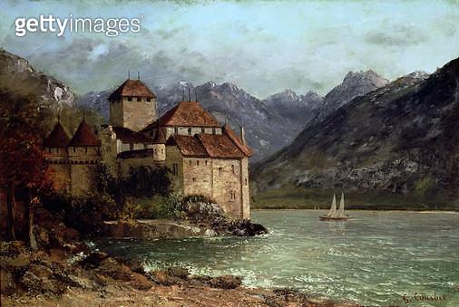 <b>Title</b> : The Chateau de Chillon, 1875 (oil on canvas)<br><b>Medium</b> : oil on canvas<br><b>Location</b> : Musee Municipal, Lons-le-Saulnier, France<br> - gettyimageskorea