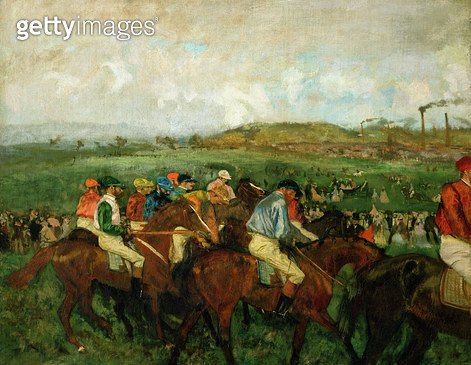 <b>Title</b> : Gentlemen race. Before the Departure, 1862 (oil on canvas)<br><b>Medium</b> : oil on canvas<br><b>Location</b> : Musee d'Orsay, Paris, France<br> - gettyimageskorea