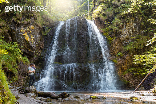 Father and daughter at Josefsthal waterfall - gettyimageskorea