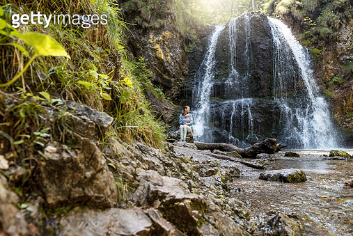 Mother and daughter at Josefsthal waterfall - gettyimageskorea