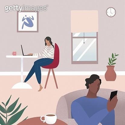 Two people, coronavirus, covid-19, quarantine, work at home, remote work, women, man, couple, social distance. - gettyimageskorea