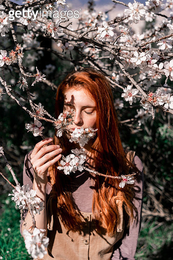 Redheaded woman smelling tree blossoms - gettyimageskorea