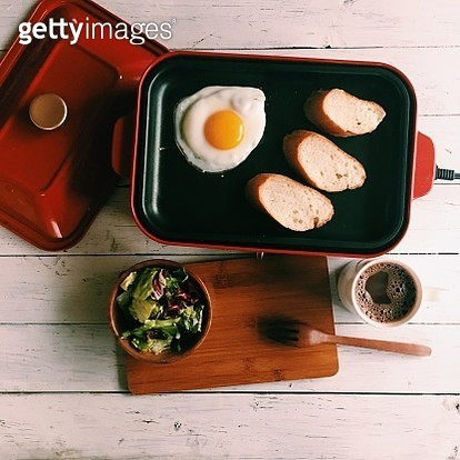 Directly Above View Of Food On Wooden Table - gettyimageskorea