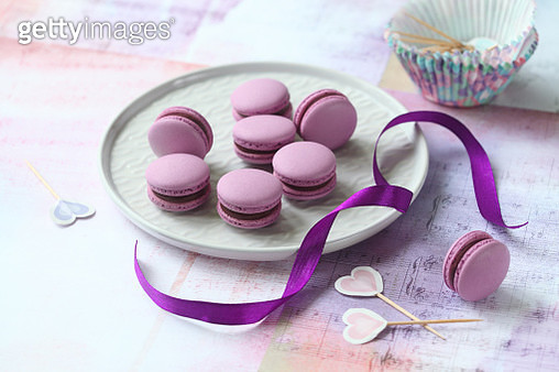 Purple Macarons with Chocolate Black Currant Filling - gettyimageskorea