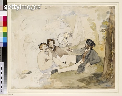 <b>Title</b> : Study for 'Dejeuner sur L'Herbe', c.1863 (pen, pencil and w/c on paper)<br><b>Medium</b> : <br><b>Location</b> : Ashmolean Museum, University of Oxford, UK<br> - gettyimageskorea
