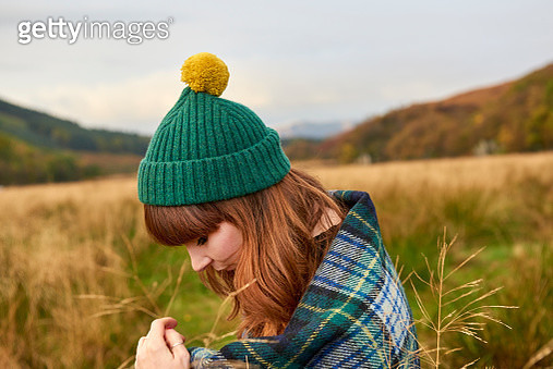 Portrait of Young Woman in Scottish Landscape - gettyimageskorea