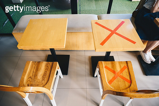 Keep spaced between each chairs make separate for social distancing to avoid spreading of Covid-19. Social distance concept. - gettyimageskorea