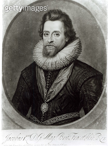<b>Title</b> : Portrait of James I (1566-1625) after a miniature by Nicholas Hilliard (1547-1619) of 1617, engraved by George Vertue (1684-1756<br><b>Medium</b> : <br><b>Location</b> : Private Collection<br> - gettyimageskorea