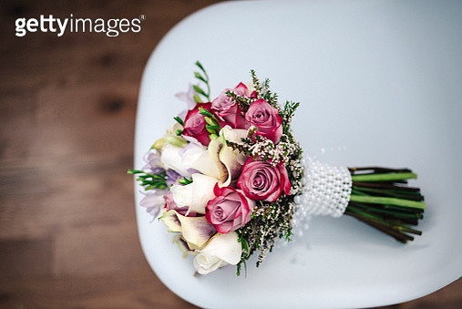 Wedding Bouquet on a chair - gettyimageskorea