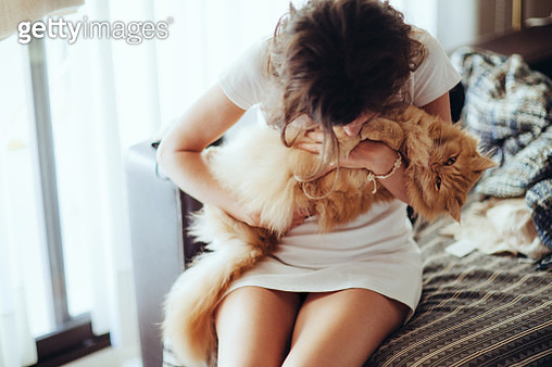 Young woman holding hairy cat on sofa at home - gettyimageskorea