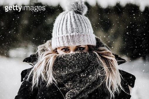 Portrait Of Young Woman In Winter - gettyimageskorea