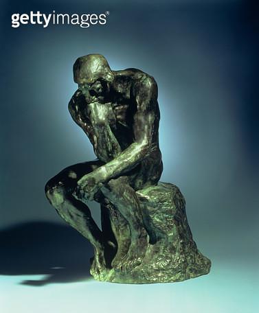 <b>Title</b> : The Thinker, c.1881 (bronze)<br><b>Medium</b> : bronze<br><b>Location</b> : Private Collection<br> - gettyimageskorea