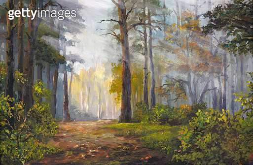 autumn morning in the forest, acrylic painting - gettyimageskorea