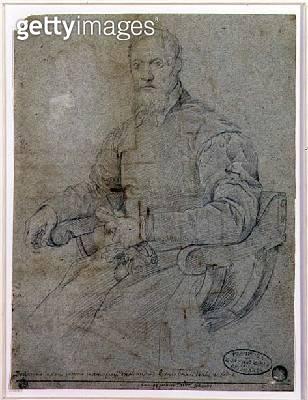 <b>Title</b> : Portrait of Titian (Tiziano Vecellio) (c.1485-1576) Roman School (charcoal on paper)<br><b>Medium</b> : charcoal on paper<br><b>Location</b> : Galleria dell' Accademia, Venice, Italy<br> - gettyimageskorea