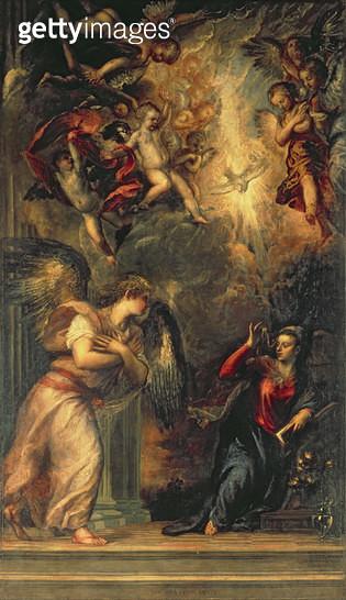<b>Title</b> : Annunciation (oil on canvas)<br><b>Medium</b> : <br><b>Location</b> : S. Salvatore, Venice, Italy<br> - gettyimageskorea