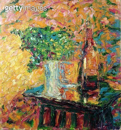 Still Life with Bunch of Flowers/ Glass and Bottle/ 1907 (oil on canvas) - gettyimageskorea