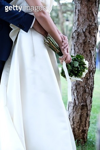 Midsection Of Newlywed Couple Embracing While Standing By Tree Trunk - gettyimageskorea