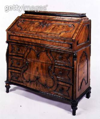 <b>Title</b> : Bureau in the Rococo style with metal mounts from or in the style of a Louis XV French commode, Italian, c.1750 (walnut)<br><b>Medium</b> : walnut<br><b>Location</b> : Private Collection<br> - gettyimageskorea
