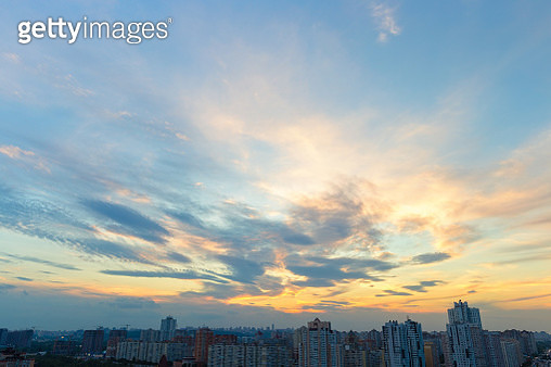 High angle view of Pozniaky district in Kiev against sunset sky - gettyimageskorea