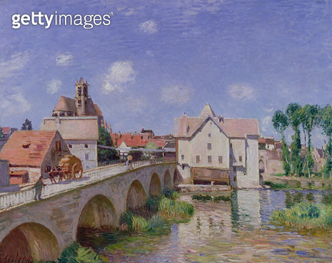 <b>Title</b> : The Bridge at Moret, 1893 (oil on canvas)<br><b>Medium</b> : oil on canvas<br><b>Location</b> : Musee d'Orsay, Paris, France<br> - gettyimageskorea